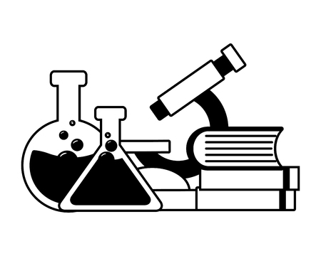 microscope books flasks laboratory tool science vector illustration monochrome