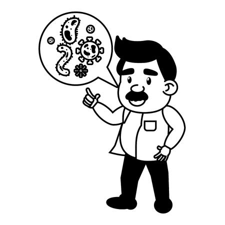 scientific professor sample bacteria cells science vector illustration monochrome Banque d'images - 118548115