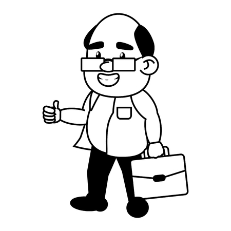 scientific professor character with portfolio vector illustration monochrome