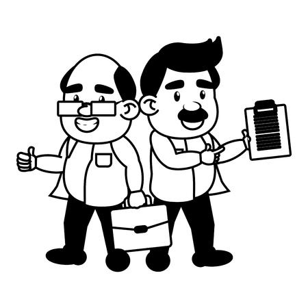scientific professors with suitcase and clipboard science vector illustration monochrome