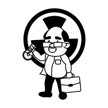 scientific professor with test tube and suitcase vector illustration monochrome