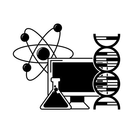 computer flask molecule laboratory science vector illustration monochrome Vektorové ilustrace