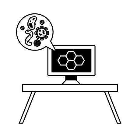 computer bacteria virus laboratory science vector illustration monochrome