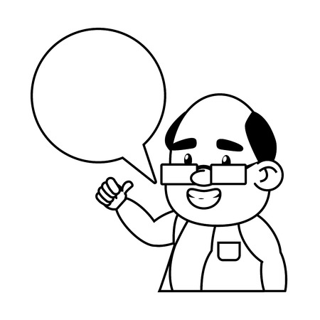scientific professor character speech bubble vector illustration monochrome Ilustração