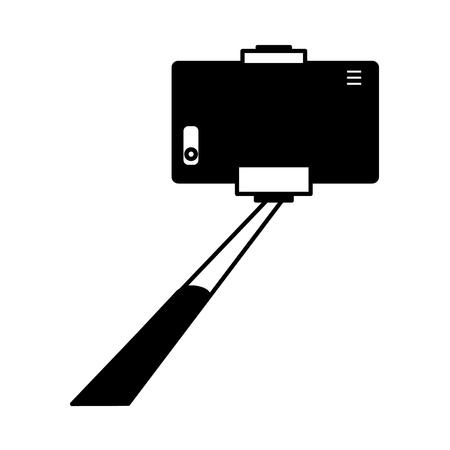 smartphone in selfie stick gadget vector illustration monochrome Illustration