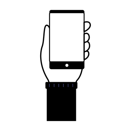 index finger hand on white background vector illustration monochrome