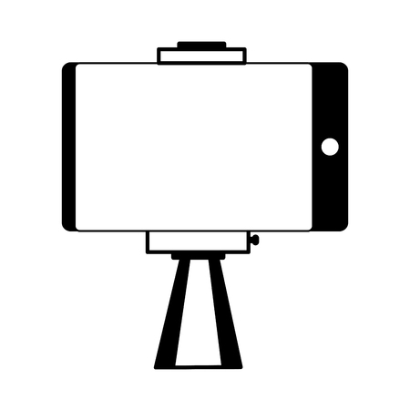 smartphone in selfie stick gadget vector illustration monochrome Çizim