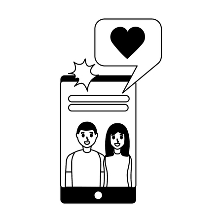 smiling couple taking selfie with mobile vector illustration monochrome