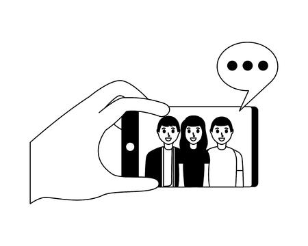 hand with mobile people taking selfie vector illustration monochrome 版權商用圖片 - 124624445