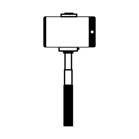 smartphone in selfie stick gadget vector illustration monochrome Stock Vector - 124624446