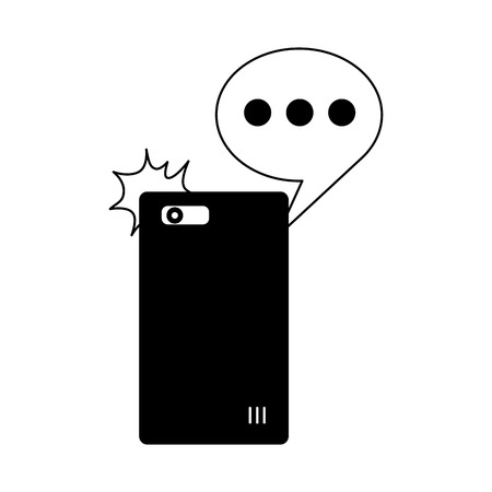 smartphone device speech bubble icon vector illustration monochrome Ilustração
