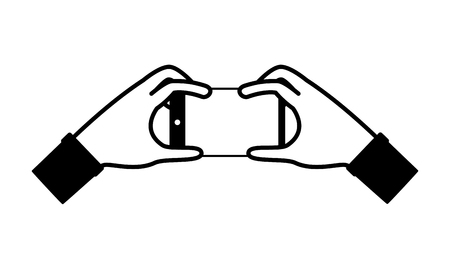 hands with smartphone on white background vector illustration monochrome
