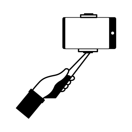 hand with cellphone in stick selfie vector illustration monochrome