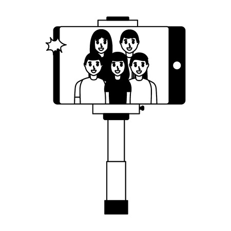 cellhpone people group taking selfie vector illustration monochrome