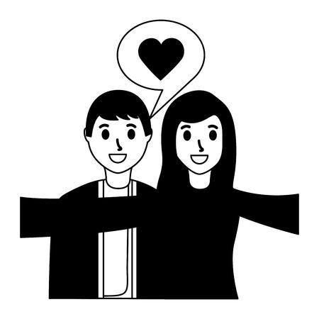 smiling couple love taking selfie vector illustration monochrome