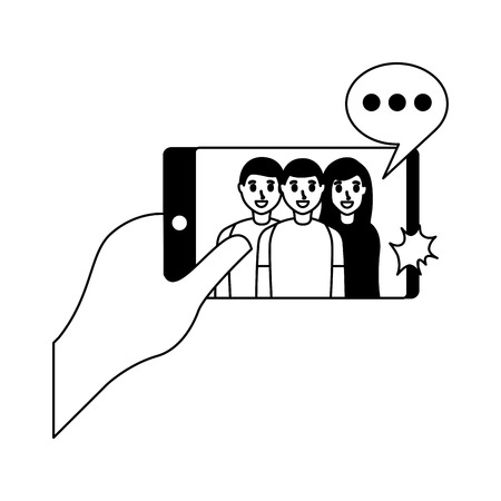 happy people group taking selfie vector illustration monochrome