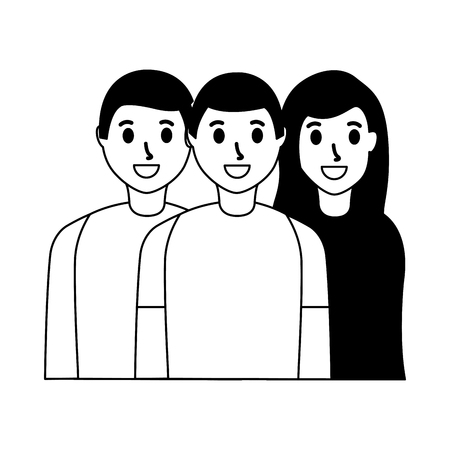 smiling friends men and woman taking selfie vector illustration monochrome