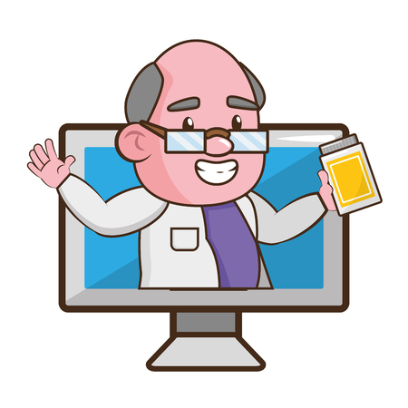 scientist professor with bottle computer science vector illustration Ilustracja