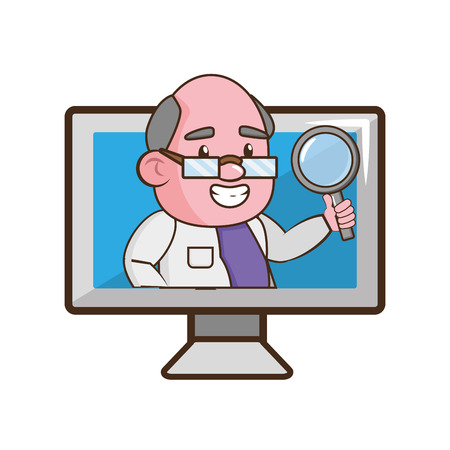 scientist professor with magnifier in computer science vector illustration