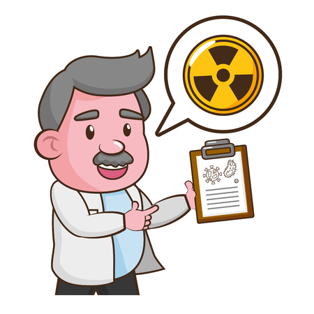 scientist professor with clipboard radiation science vector illustration