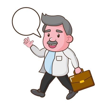 scientist professor science with suitcase vector illustration Illustration