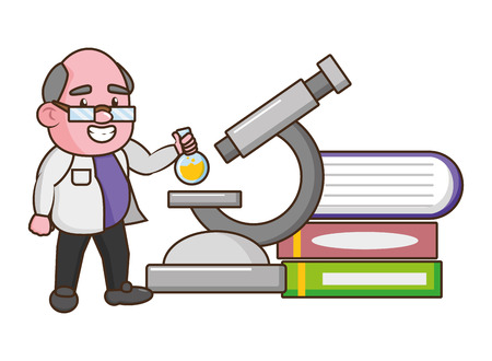 scientist professor with flask microscope and books science vector illustration