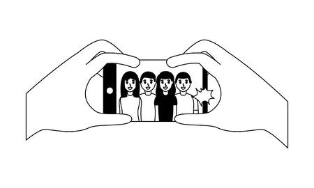 hands with mobile people taking selfie vector illustration monochrome Stock fotó - 124624474