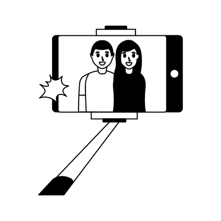 people taking selfie smartphone with stick vector illustration monochrome