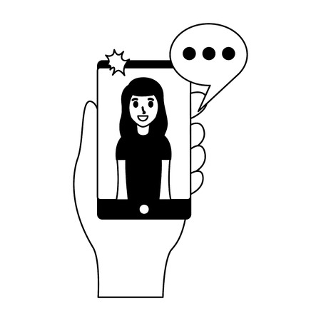 young woman with mobile taking selfie vector illustration monochrome Illustration