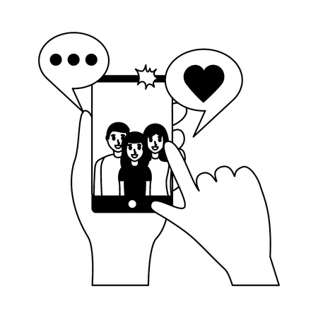 hands with mobile people taking selfie vector illustration monochrome Illustration