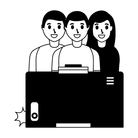 cellphone people group taking selfie vector illustration monochrome