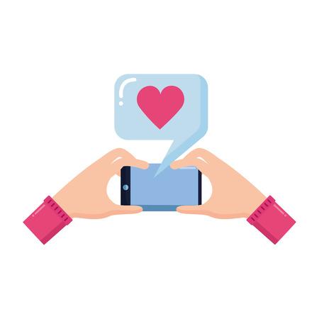 hands with cellphone love taking selfie vector illustration Çizim
