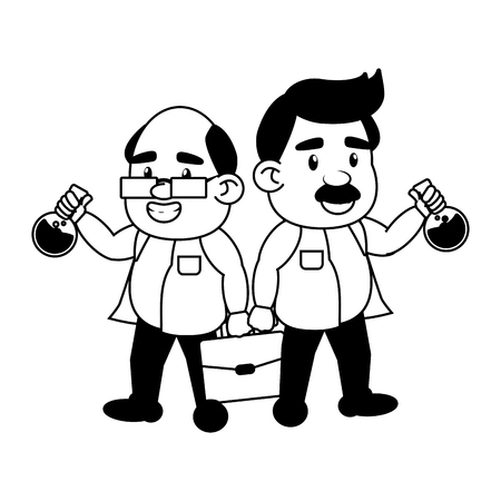 scientific professors with suitcase and test tubes science vector illustration monochrome