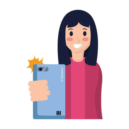 woman taking selfie with cellphone vector illustration Stock Vector - 118540788