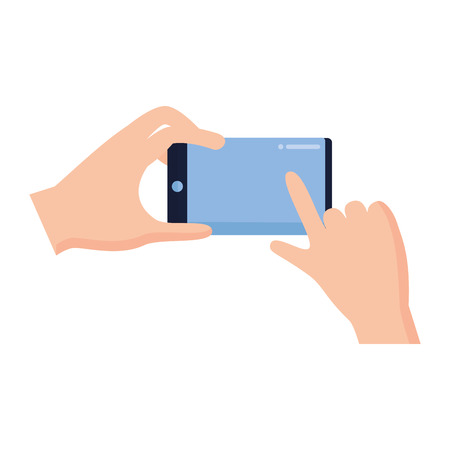 hands with cellphone device gadget vector illustration