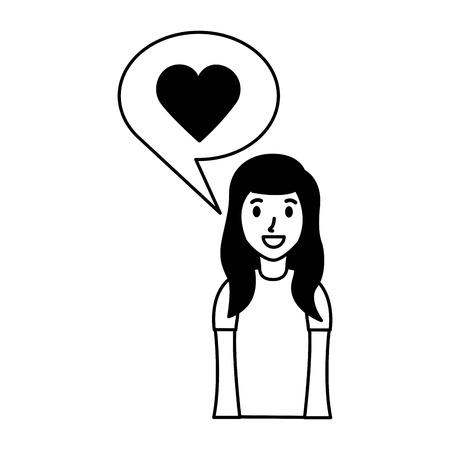 woman love speech bubble chat vector illustration