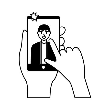 smiling young man taking selfie vector illustration monochrome