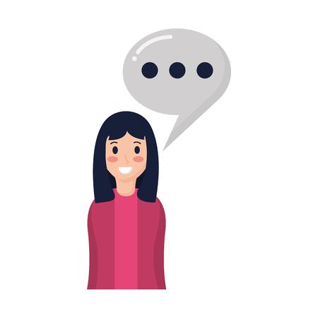 smiling woman portrait speech bubble vector illustration