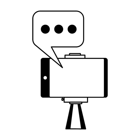 mobile stick speech bubble taking selfie vector illustration
