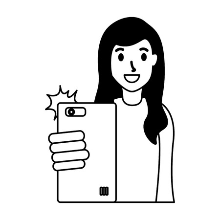 woman taking selfie with cellphone vector illustration