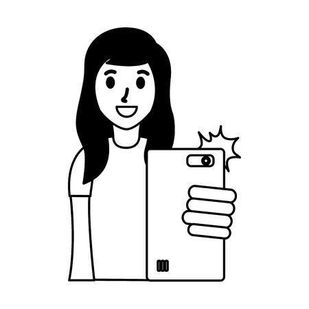 woman taking selfie with cellphone vector illustration Stock Vector - 124624520