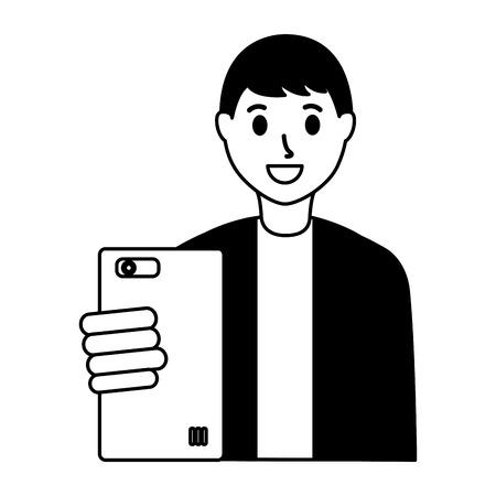 man taking selfie with cellphone vector illustration Ilustração
