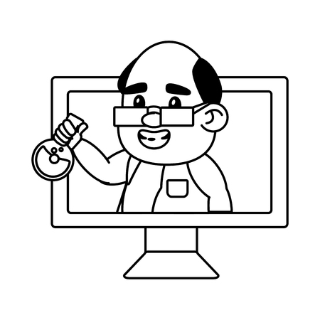 scientist professor computer with flask science vector illustration Banque d'images - 124624524