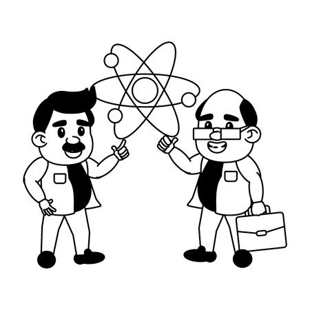 scientist professors atom molecule science vector illustration
