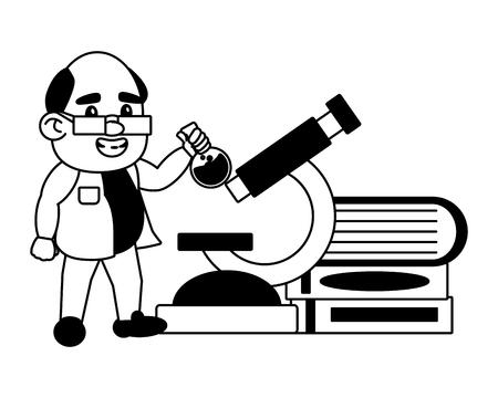 scientist professor with flask microscope and books science vector illustration Banque d'images - 124624530