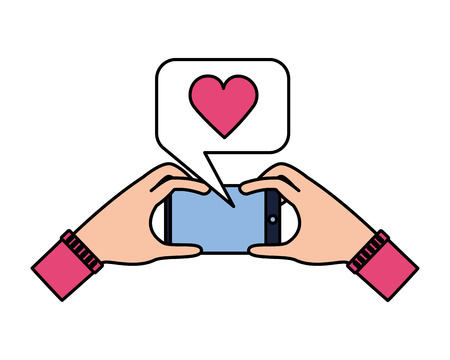 hands with cellphone love taking selfie vector illustration Illustration