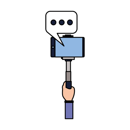 hand with mobile stick speech bubble taking selfie vector illustration