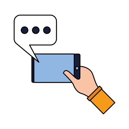 hand with cellphone speech bubble vector illustration
