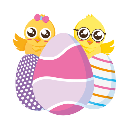 Pollitos lindos pascua con huevos decorativos ilustración vectorial