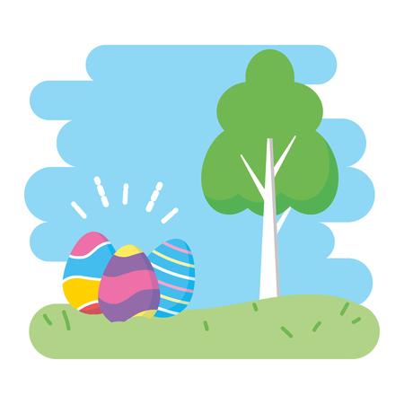 happy easter eggs in the park vector illustration